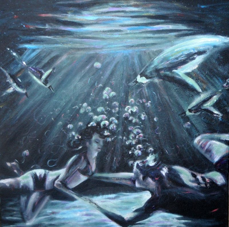 man woman under water painting with penguins