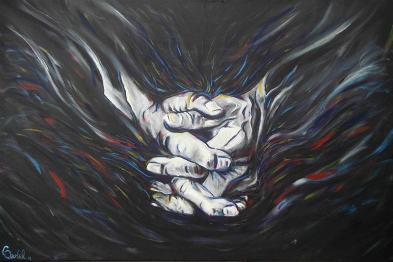Grace a painting of hands praying
