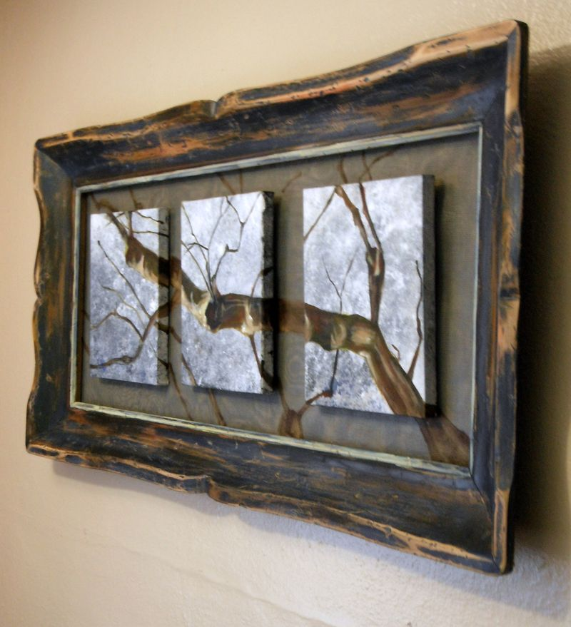 branch painting with window screen framed