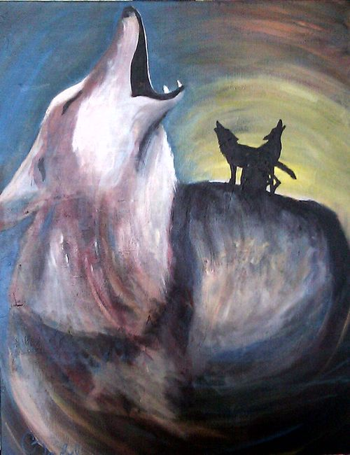 painting coyote howling yipping