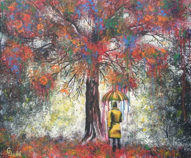 Resilience, original painting colorful tree with person standing umbrella