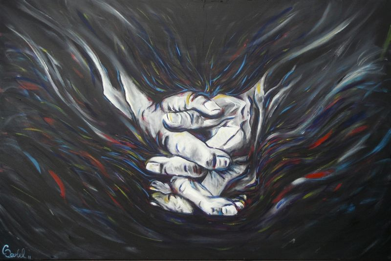 Grace a painting of wrinkled hands praying